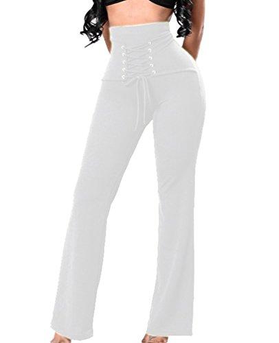 YuanDian Donna Estivi Casual Colore Solido Coulisse Alta Vita Larghi Pantalone Palazzo Eleganti Pantaloni a Campana Gamba Larga Ampi Zampa Pantaloni Bianco
