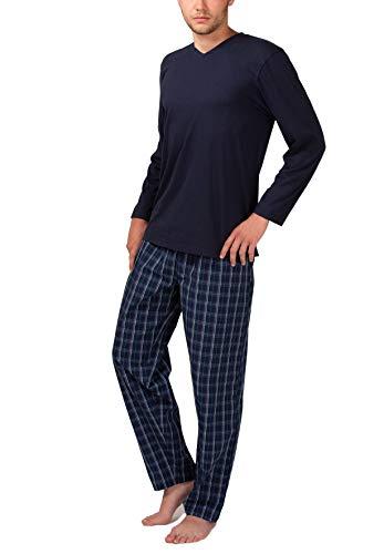 Moonline Herren Schlafanzug mit Webhose, Farbe:navy, Größe:52