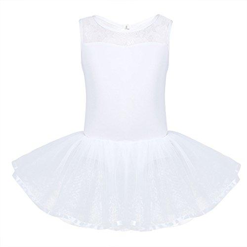 lettkleid Ballettanzug mit Tüll Rock ärmellos Ballett Trikot Body Turnanzug Tanzkleid Leotard festlich Kleider Kostüm in Gr. 98-164 (Weiß, 152-164 (Herstellergröße: 160)) (Weiße Trikot Kostüm)