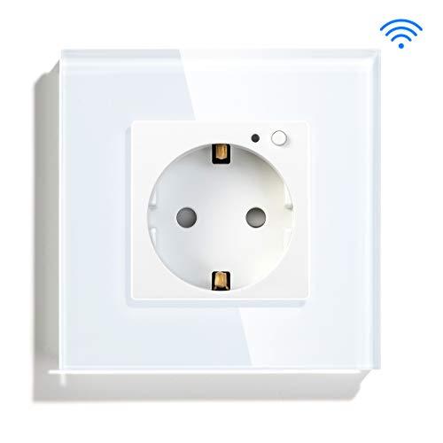 BSEED WIFI Smart Socket Kompatibel mit Alexa und Google Home Single Eu Socket Standardsteckdosen aus gehärtetem Glas Weiß Single Socket
