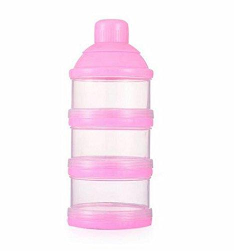 Preisvergleich Produktbild Hosaire Milchflasche Reise Tragbare Baby Milk Powder Dispenser Container Pot Box,3 Compartment Reis Milchkannen Aufbewahrungsbox Artifact,Pink