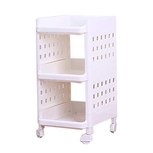REGAL HUYP Weißes Plastik-Verdickungs Küchen-Badezimmer-bewegliches Universalrad-Lagerregal (größe : M)