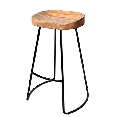 Barhocker Retro Esszimmerstuhl Holz Top Metallbeine Design Küche Restaurant Bar Hoher Hocker (Sitzhöhe: 45/65 / 75CM) (Farbe : Black Leg, größe : 65cm)