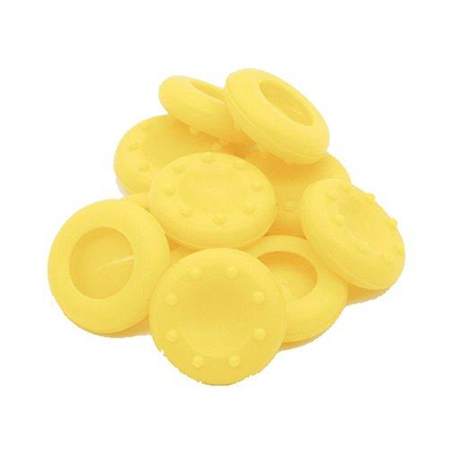 Stillshine pulgar agarre palo thumb grip silicona caps para PS2, PS3, PS4, Xbox 360, Xbox One, Wii U Mando (Yellow 10pc)