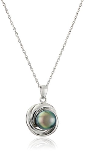 Amazon Sterling Silver 8-8.5mm Tahitian Cultured Black Pearl Love Knot Pendant Necklace 18