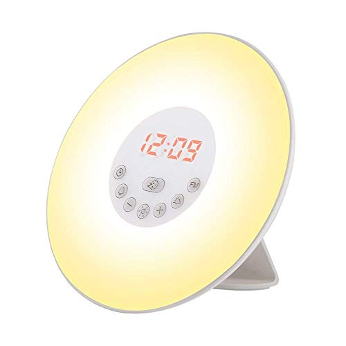 Wake Up Light, Despertador luz LED con Radio FM, 6 Sonidos Naturales, 7 Luces LED de Colores & Simulación de Amanecer / Atardecer para Casa, Dormitorio
