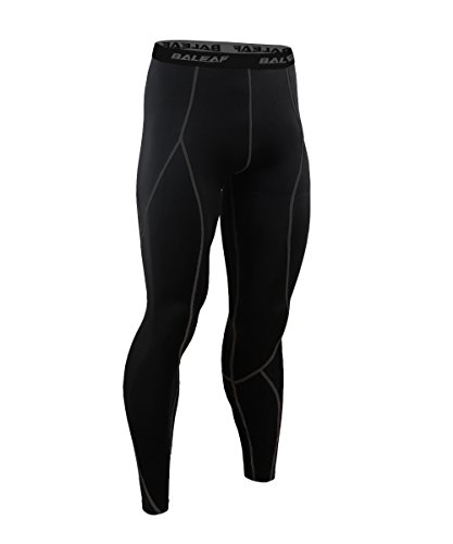 Baleaf Herren Funktions Laufhose Lang Tights Running Fitness Workout Kompression Hose Reflektoren Sport Funktionswäsche Leggings Schwarz Größe L (4-wege-stretch-leggings Schwarzes)