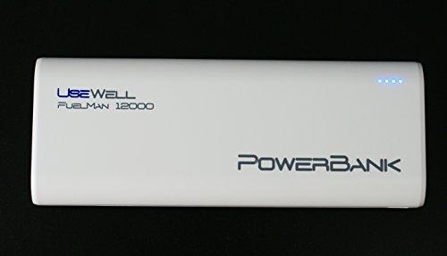 Usewell FuelMan 12000 mAh Powerbank - mobiler Akku für Smartphones und Tablets, etc. Weiß