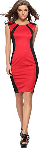 U-shot da donna color block indossare al lavoro Cocktail Party Bodycon Wiggle Dress Red 46