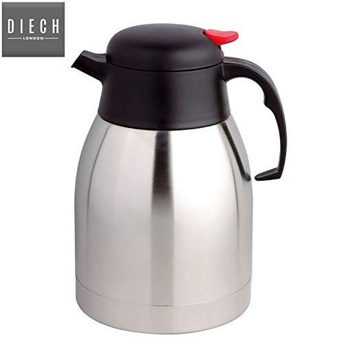 Isolierte Kaffee-spender (DIECH 2 L Vakuumkanne Edelstahl Wasserkocher Thermoskanne Heißkalt Tee Kaffee Isolierte Spender Air Pot Druckknopf Hebel für einfaches Ausgießen)