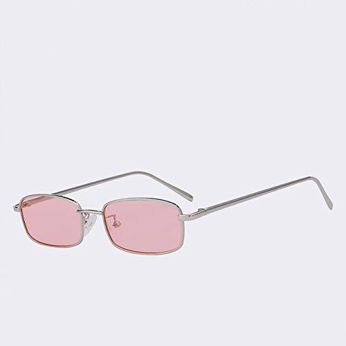 Yuanz Sonnenbrille Damen Herren Rechteck Brille Markendesigner Klein Retro Shades Gelb Pink Sunnies Sonnenbrille Damen,T