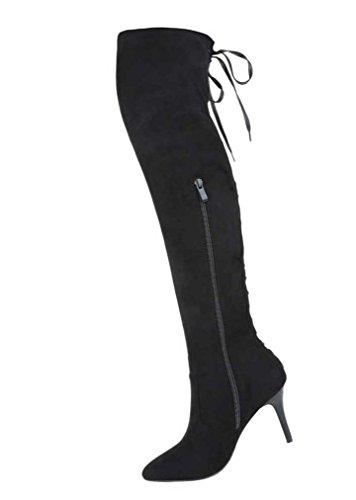 Damen Overknee Stiefel Schuhe High Heels Schwarz Schwarz
