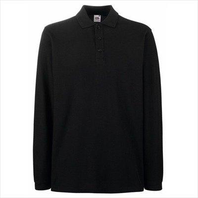 Fruit of the Loom - Premium Longsleeve Polo - Modell 2013 / Black, M M,Black (Fruit Of The Loom Herren Langarm)