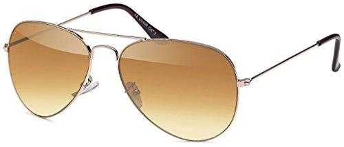 MOKIES Unisex Sonnenbrillen - UV400 Filterkategorie 3 CE Kennzeichnung - Pilotenbrille Fliegerbrille - Polycarbonat - Edelstahl - 501 braun verlaufend