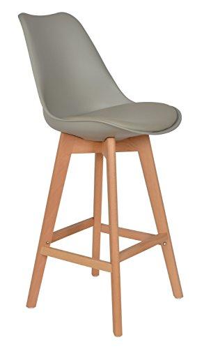 ts-ideen Chaise Design Classique des années 50 Retro Tabouret de bar cuisine Bistro Siège Salon Gris en bois