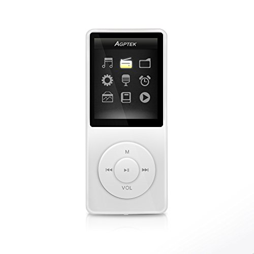 AGPTEK A02 - REPRODUCTOR DE MP3 (8 GB  PANTALLA DE 1 8  RADIO)  COLOR BLANCO