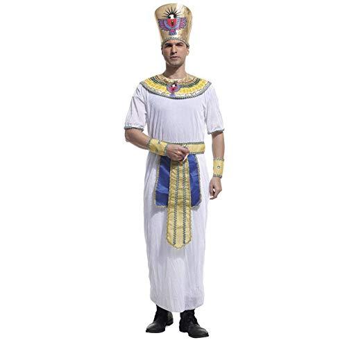FKMYS Ägyptischer Pharao Cosplay, Herren Cosplay Kostüm, Halloween Kostüm Party Kleidung, einschließlich Roben, Kopfbedeckungen, Gürtel, Armbänder, Kragen (2 Größen) (Size : M) (Ägyptische Paare Kostüm)