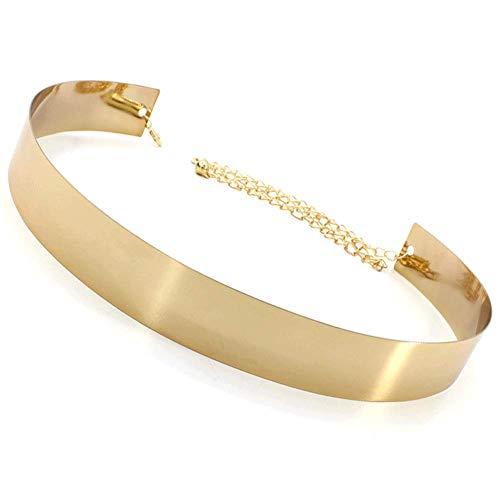 para Mujer Metal Espejo De Cinturón Metálico Ajustable De La Pretina De La Placa Cinturones Anchos para Las Señoras