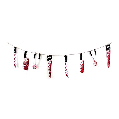Faraw halloween hanging knife banner, simulazione bloodstain meat decoration string per halloween party haunted house