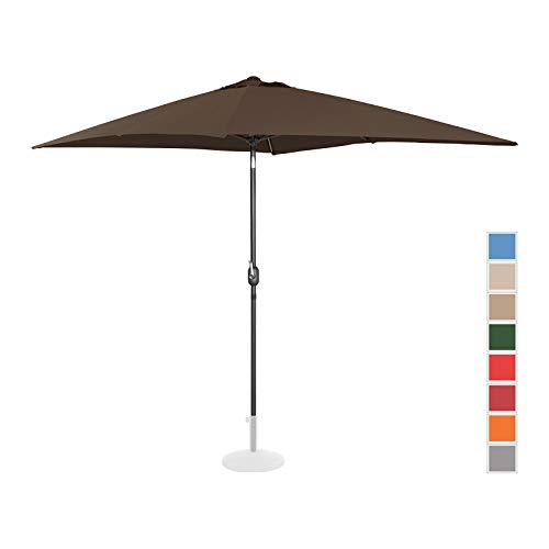 Uniprodo Parasol De Terrasse Droit Grand Protection Solaire UNI_Umbrella_TSQ2030BR (Marron, Inclinable, Rectangle, 200 x 300 Cm, Acier, Alu, Polyester Haute Densité 180g/m2)