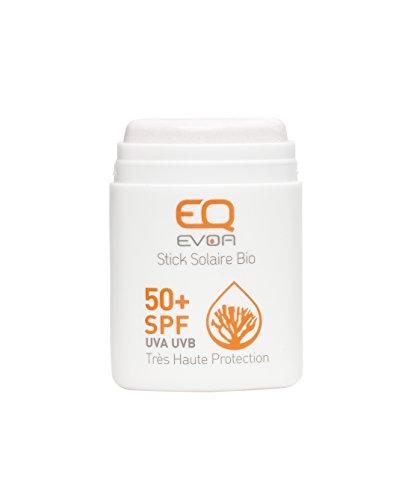 EQ Stick Solaire Visage BIO - Très Haute Protection SPF 50+  - Tube 10 g  - pour Sportifs et Enfants -  Blanc