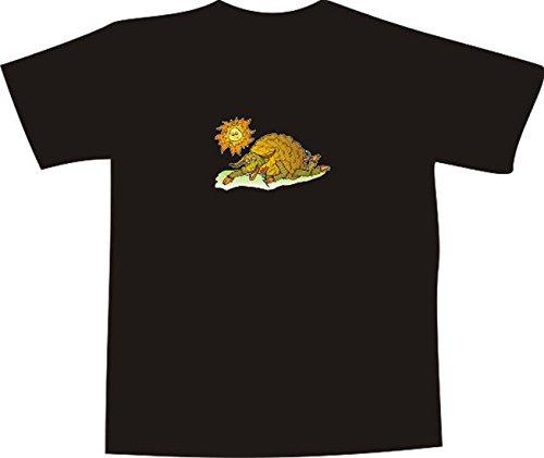 T-Shirt E884 Schönes T-Shirt mit farbigem Brustaufdruck - Logo / Grafik - Comic Design - dickes lüsternes Schaf im Sonnenschein Mehrfarbig