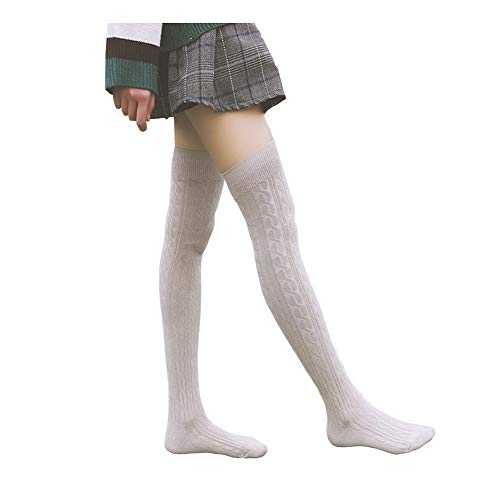 Bakicey Damen Kniestrümpfe Socken Overknee Strümpfe Strumpfhosen Baumwollstrümpfe Stricksocken Stützkniestrümpfe Gestrickte Socken Hoch Über das Knie Lange Socken Winter Strümpfe, 64cm Grau, 74cm