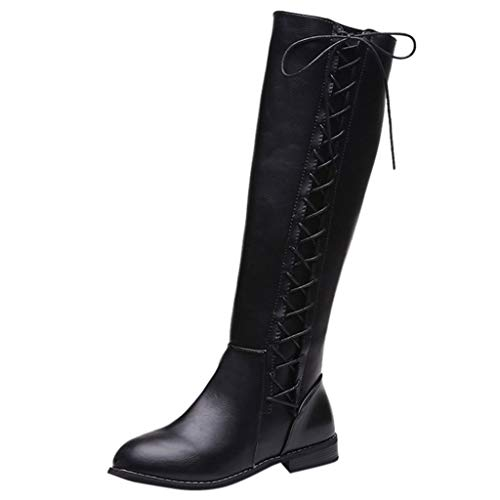 Junjie Frauen Leder Reißverschluss Quadrat Ferse Hohe Stiefel Kniehohe High Heel Schuhe Runde Zehen Stiefel Schwarz, Khaki, (Kostüm 4 Ferse)