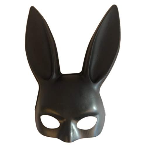 nihiug Kaninchenmaske Halloween Ostern Nachtclub Bar Tanzparty Half Face Bunny Mask Performing Kaninchenohrmaske,Black1-OneSize