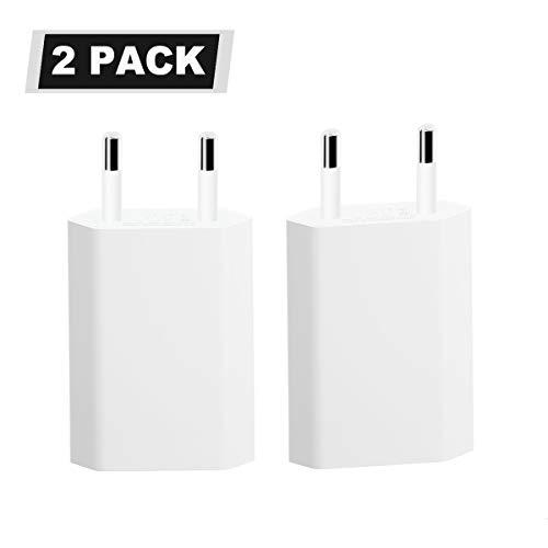BLUWIE 2 Pack USB Ladegerät Netzteil 5V / 1A passend für Smartphones Tablets eBook Reader etc [Weiß]