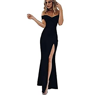 CoCo Fashion Damen Trägerlos Bustier Split Maxikleid Sexy Off Shoulder Langes Abendkleid Party Schulter Kleider, Schwarz, Gr. L/38