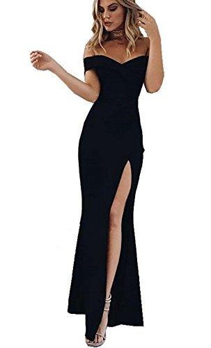 CoCo Fashion Damen Trägerlos Bustier Split Maxikleid Sexy Off Shoulder Langes Abendkleid Party...