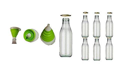 6 leere Milchflaschen mit Verschluss 1l Liter Milchflasche Glas von Conny Clever® + faltbaren Trichter grün