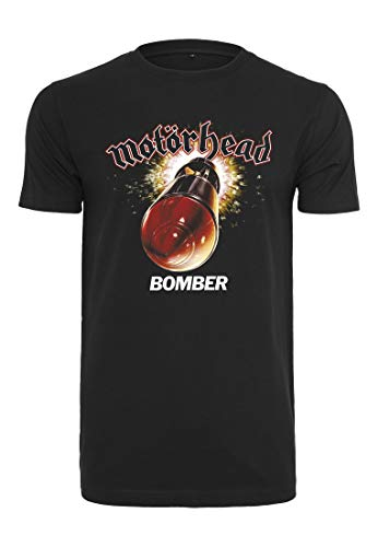 MERCHCODE Herren Motörhead Bomber T-Shirt, Black, L - Bomber-t-shirt Aus Baumwolle