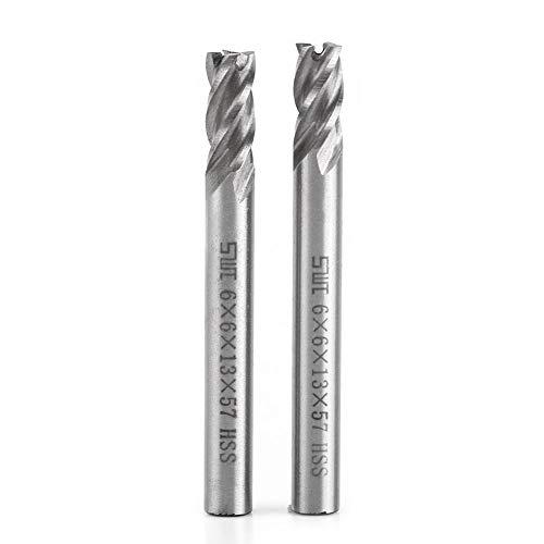 Schaftfräser, Asixx 2 stücke HSS Schaftfräser HSS 6mm 4 Flöten Schaftfräser Metall Cuttting Gravur Fräsmaschine Bit CNC Werkzeug<br/>