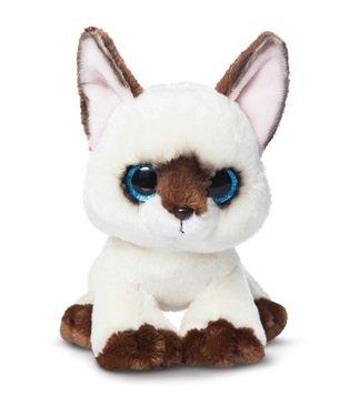 Katze Braune Ohren (Candies Plüschtier braun - weiß Katze Rolo, Kuscheltier mit Glitzeraugen Plüschkatze ca. 18)