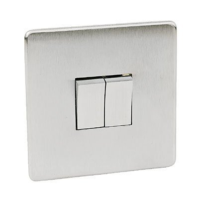 Crabtree 7172/SC Platinum Light Switch 2 Gang 2 Way. Low Profile Satin Chrome Finish by Crabtree -