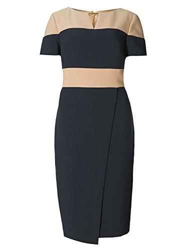 major-highstreet-store-collection-navy-camel-colour-block-wrap-dress-size-10
