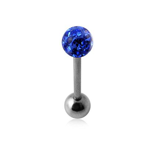 Dunkel blau Epoxy Clover Multi Kristall Stein Ball 14 Gauge chirurgischen Stahl Straight Barbell Zunge Bar Piercing (Stein Dunklen Camo)