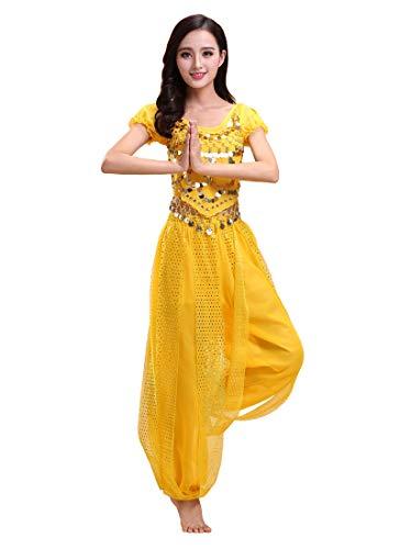 Grouptap Bollywood Indian Bharatanatyam Bauchtanz gelb 2-teiliges Kostüm Outfit für Damen Mädchen Erwachsene Tänzerin (150-170cm, 30-60kg) (Gelb)
