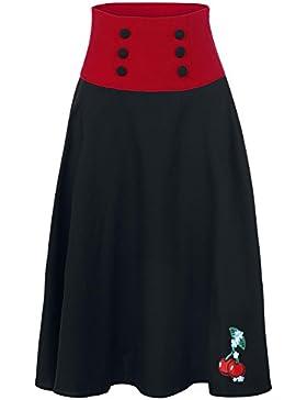 Prohibido de vestir negro rojo Cherry falda larga