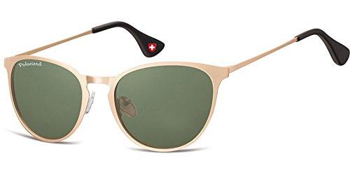 Demel Augenoptik Moderne Sonnenbrille für Damen und Herren - Polarisierte Gläser mit UV400-Schutz - Inklusive Brillenetui und Mikrofasertuch Modell: MP88 (Gold)