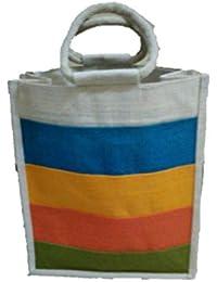 DSK Enterprise Jute Multi Color 13.5 Inch H*12 Inch Width+5 Inch Box Eco Friendly Jute Bag (DSKE-8)