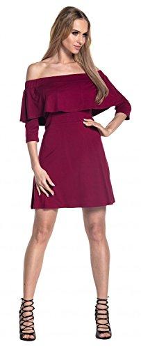 Glamour Empire. Femme Robe en Couches Volants Encolure Bardot Demi-Manches. 565 Cramoisi