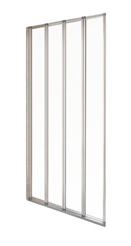 Aqualux Duschwand, 4 Klappen, 840 mm, Transparent/silberfarben
