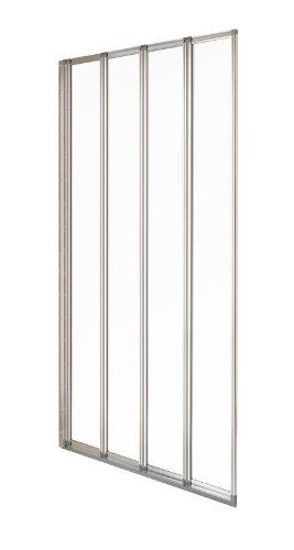 duschtuer klappbar Aqualux Badewannen-/Duschwand, 4-teilig, 840mm, Silber glänzend/ Transparent