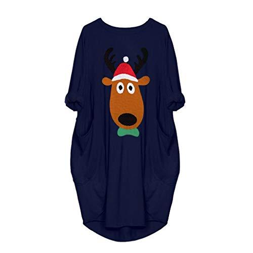 IZHH Damen Weihnachtskleid Rundhal Large Size Minikleid mit Taschen Weihnachten Elk Cartoon Kostüme Tunika Kleid Freizeit Partykleid Frauen Geschenk(Blau - Coole 80's Cartoon Kostüm