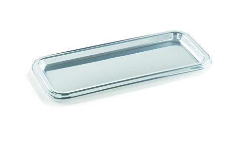 Servierplatte Plastik Einweg silber Einwegservierplatte Einwegtablett 36 x 16 cm 10 Stück