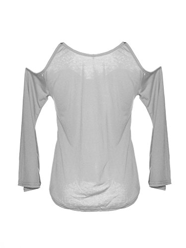 Épaule Off Lace Tops Shirt manches Flare Gris