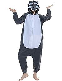 Unisex Animal Pijama Ropa de Dormir Cosplay Kigurumi Onesie Gris Lobo Disfraz para Adulto Entre 1